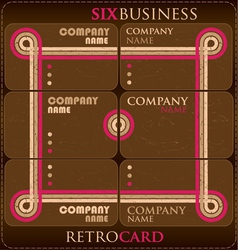Six business retro card vector