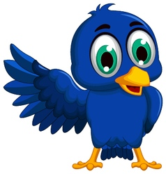 Cute blue bird cartoon presenting vector