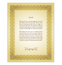 Old gold border paper background vector