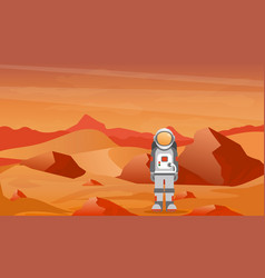 astronaut in a spacesuit on mars or another planet vector image