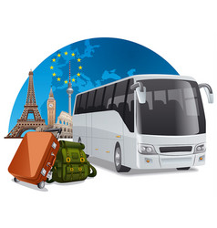 Bus tour in europe vector