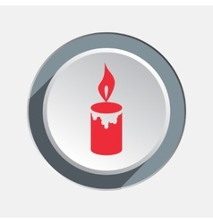 Candle with fire icon christmas symbol red sign vector