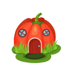 cartoon fantasy house in shape of red pumpkin with vector image