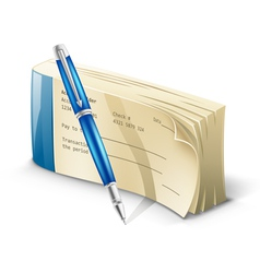 Checkbook with pen vector