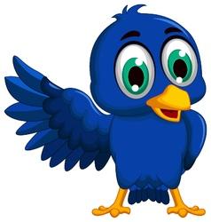cute blue bird cartoon presenting vector image