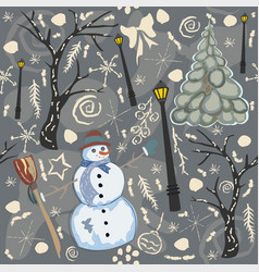 cute winter background with snowman character vector image vector image