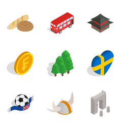 english nation icons set isometric style vector image vector image