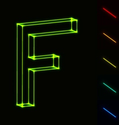 EPS10 glowing wireframe letter F - easy to change vector image vector image