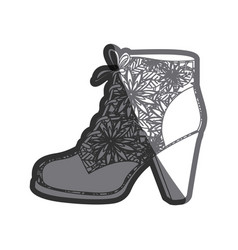 Gray thick contour of leather high heel shoe with vector