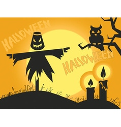 Halloween scarecrow and candles vector