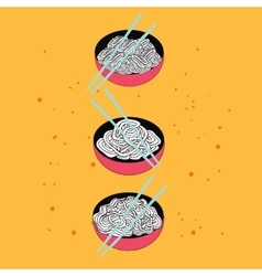 Hand drawn noodles bowl set Asian cuisine banner vector image