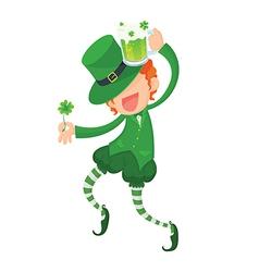 Happy leprechaun holding clover and green beer vector