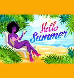 hello summer lettering and woman on of the sea vector image