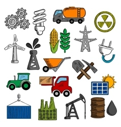 Industry and energy icons set vector