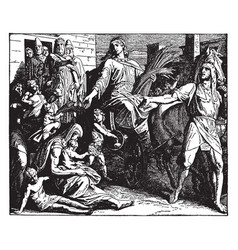 Joseph collects wheat as governor of egypt in vector