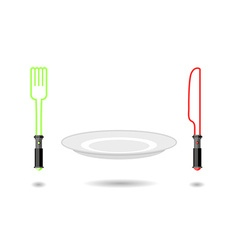 Light plug and light knife cutlery from future as vector
