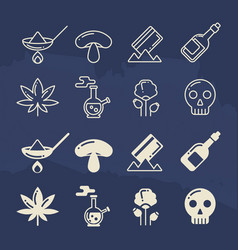line and silhouette icons of illegal drug vector image