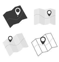 Map icon with pointer set vector