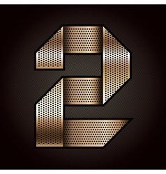Number metal gold ribbon - 2 - two vector image