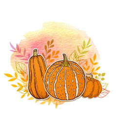 Orange pumpkins and watercolor texture vector