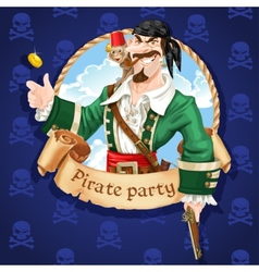 Pirate with monkey throw up golden coin vector
