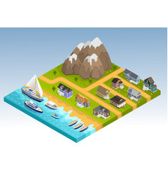 Sea line isometric composition vector