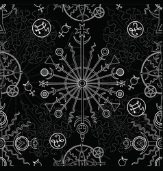 seamless background with white mystic symbols vector image vector image