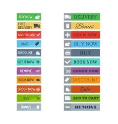 Shop buttons set vector image vector image