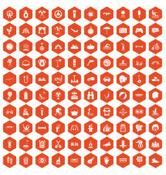 100 summer vacation icons hexagon orange vector