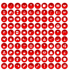 100 tea party icons set red vector