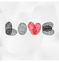 Word love written with fingerprint valentine card vector