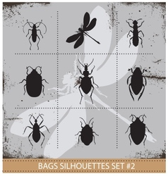 Insect silhouettes sign set black color vector image