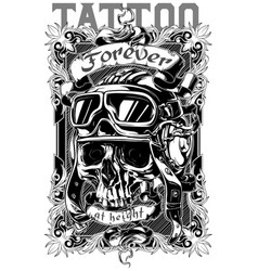 Graphic tattoo poster design with skull and text vector