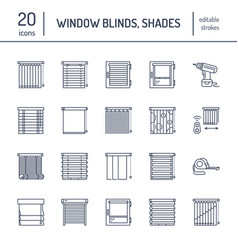 window blinds shades line icons various room vector image