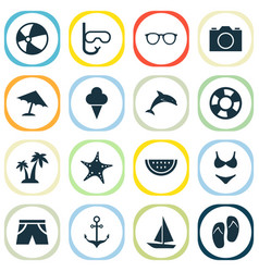 Sun icons set collection of goggles bead sweets vector