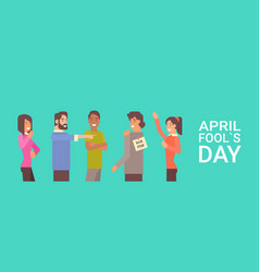 People group celebrating fool day april holiday vector