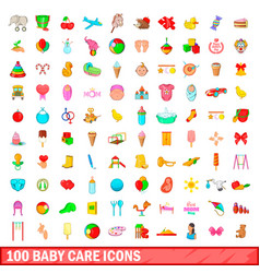 100 baby care icons set cartoon style vector image