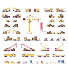 low poly construction machinery vector image