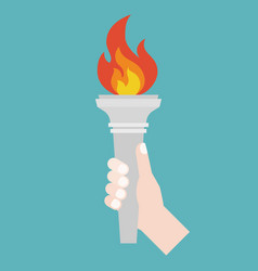 Hand holding torch symbol flat design vector