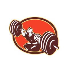 Weightlifter lifting barbells cross-fit retro vector