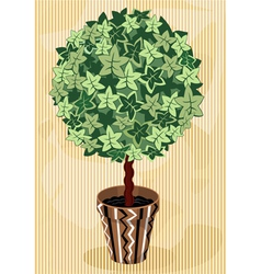 Topiary tree in decorative flowerpot vector
