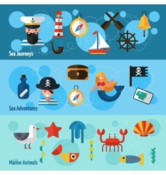 Nautical banners set vector