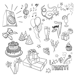 Set of sketch party objects hand-drawn vector