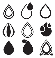 Water drop icons set - vector