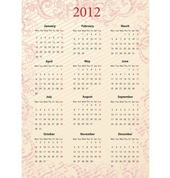 An vector pink floral calendar 2012 starting vector