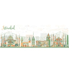 Abstract Istanbul Skyline with Color Landmarks vector image