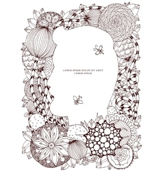 floral frame Zen Tangle vector image