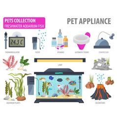 aquarium appliance icon set flat style isolated vector image vector image