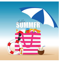 bag for beach summer with accessory and live vector image vector image