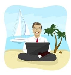 Businessman using laptop on tropical beach vector